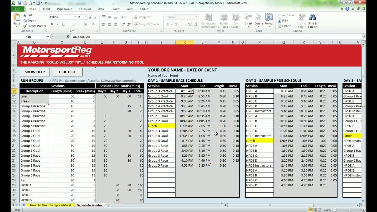 event schedule builder
