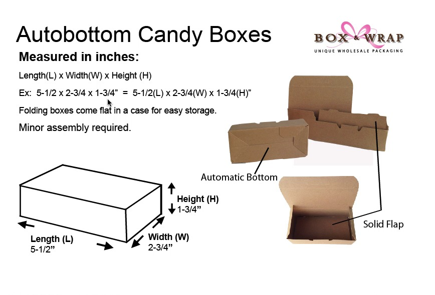 Measuring Guide - Automatic Bottom Candy Boxes   Box and Wrap