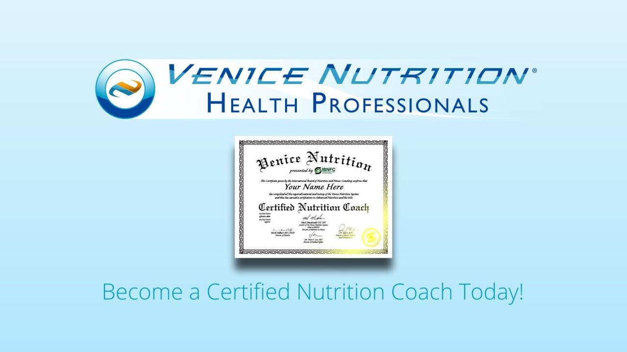 Nutrition Coach Certification Course Venice Nutrition
