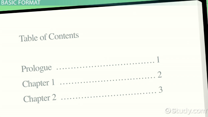 Table of Contents: Examples and Format - Video & Lesson Transcript ...