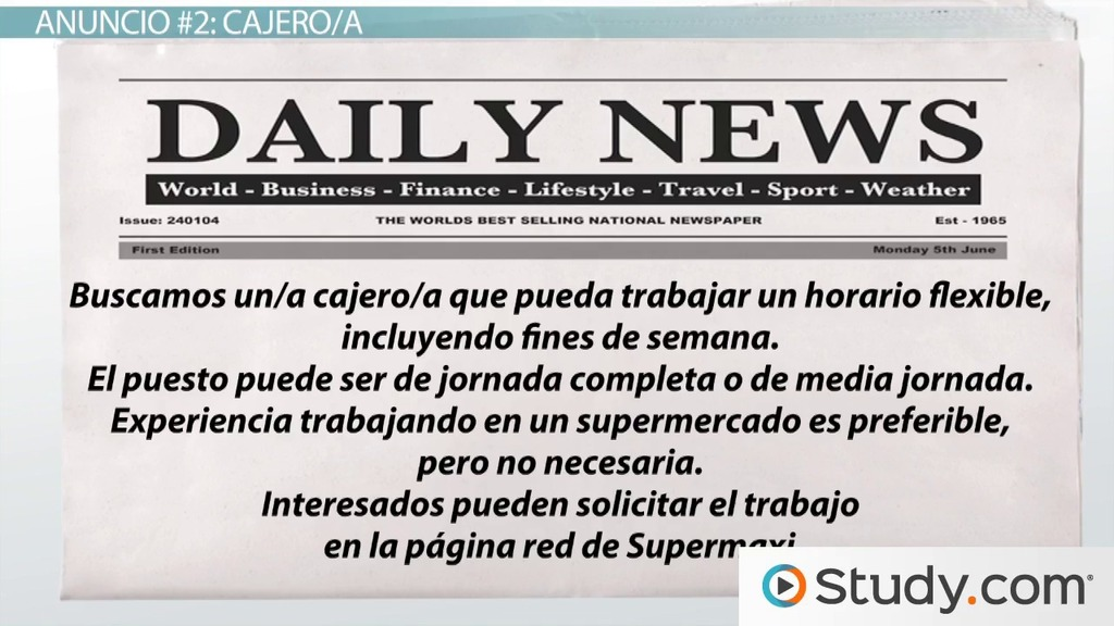 Practice Activity: Read Classified Ads in Spanish - Video & Lesson ...