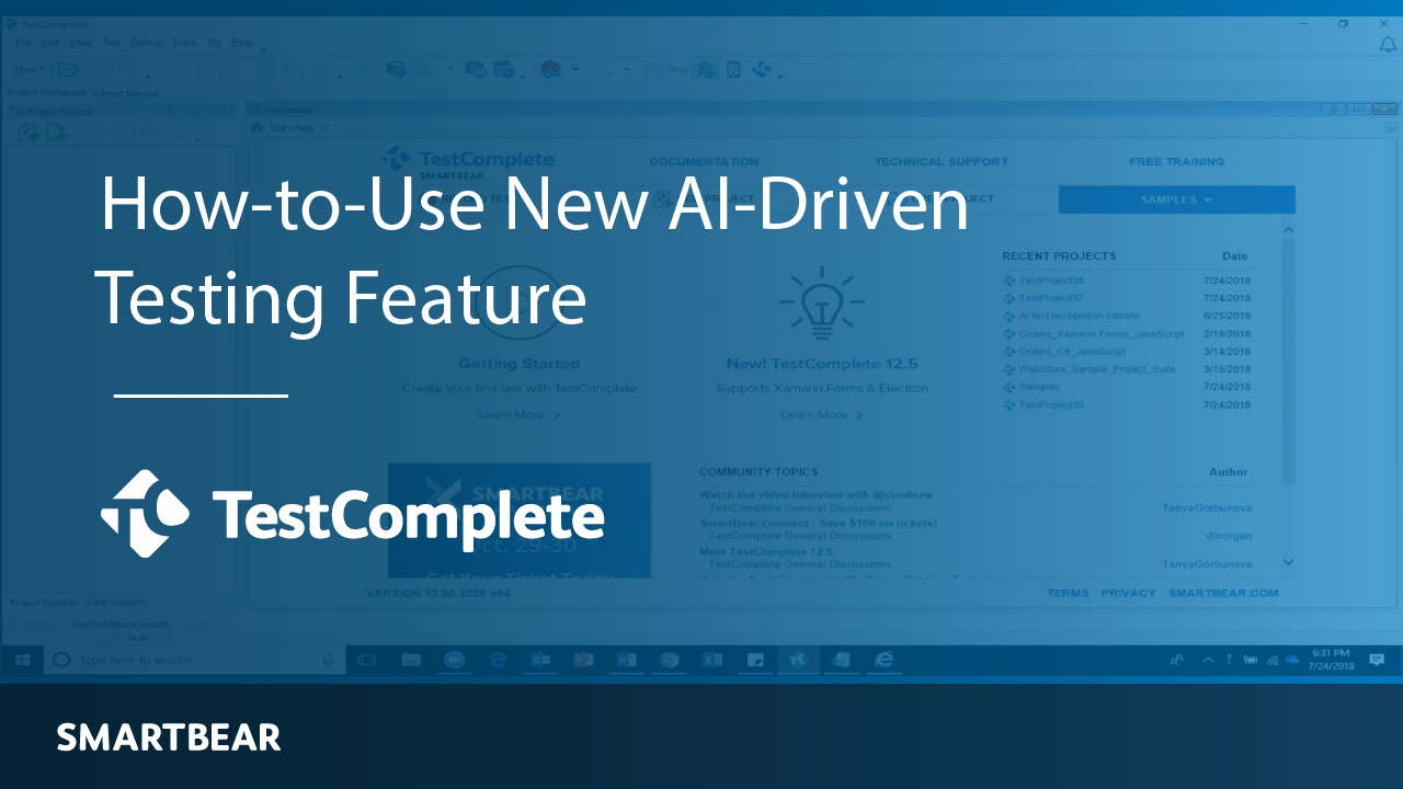Learn How-to-Use the AI-Driven Testing Feature in the New TestComplete!
