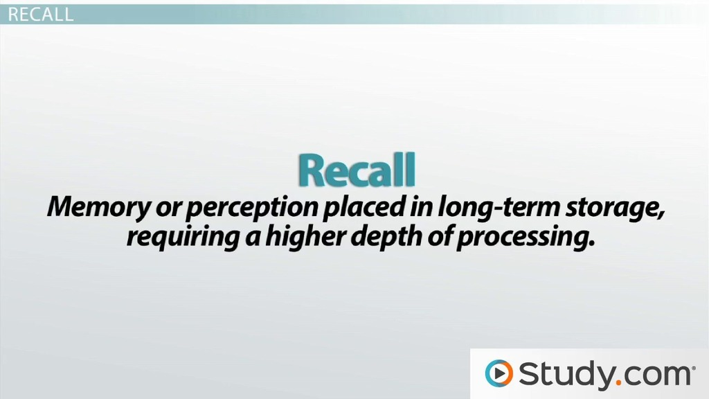 Recognition vs Recall: Definitions & Differences - Video & Lesson ...