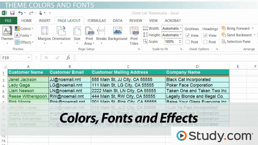 Workbook Themes Applying Changing Themes In Excel