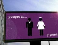 Invitación de bodas al estilo publicidad