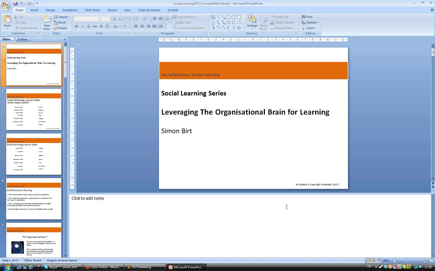 Call With Reed Elsevier On Social Learning & Knowledge Sharing