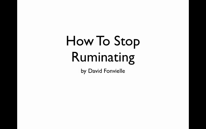 How to overcome rumination