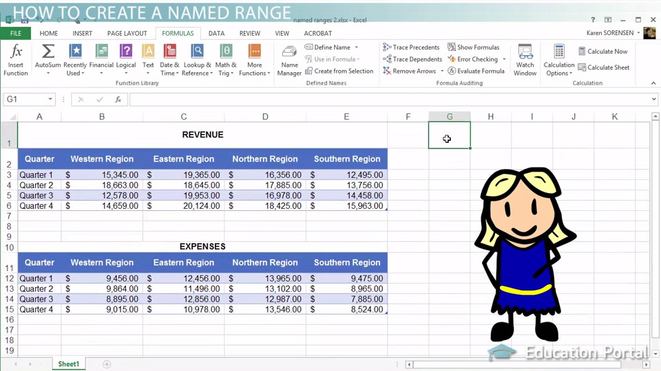 Creating Modifying Named Ranges in Excel Video Lesson – Navy Financial Planning Worksheet