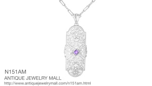Art Deco Amethyst And Diamonds Floral Filigree Pendant
