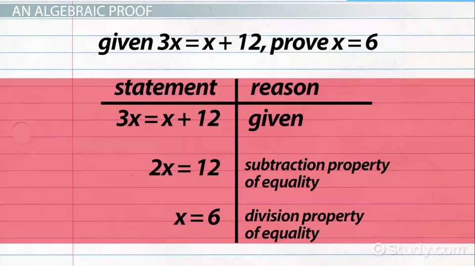 Algebraic Proofs Format Examples Video Lesson Transcript – Algebraic Proofs Worksheet with Answers