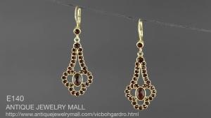 Baroque style Vintage garnet earrings with pearldrop  \u0413\u0420\u0410\u041d\u0410\u0422 salestax refunded